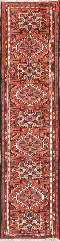 Tribal Geometric Gharajeh Persian Runner Rug 2x9
