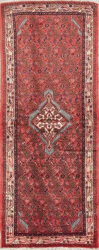 Red Geometric Hamedan Persian Runner Rug 3x7