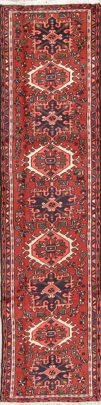 Red Geometric Gharajeh Persian Runner Rug 2x9