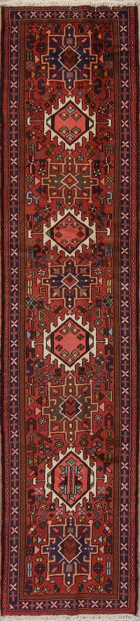 Red Geometric Gharajeh Persian Runner Rug 3x9