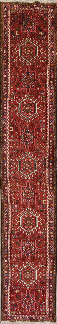Red Geometric Gharajeh Persian Runner Rug 2x13