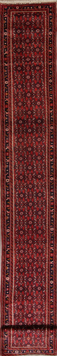 Red All-Over Geometric Hossainabad Persian Runner Rug 3x20