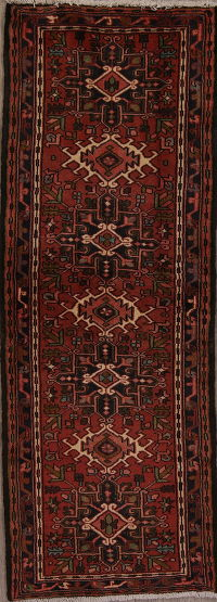 Red Geometric Gharajeh Persian Runner Rug 2x7