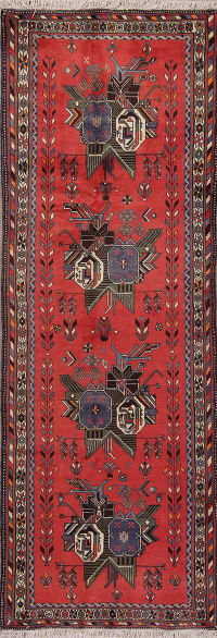Hand-Knotted Red Abadeh Persian Runner Rug Wool 3x9
