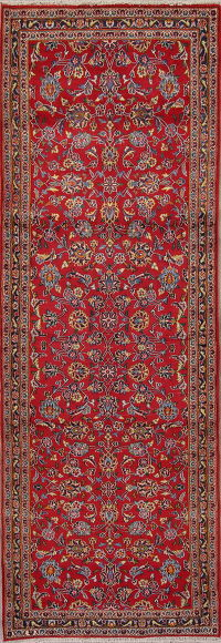 Red Floral Kashan Persian Runner Rug 3x10
