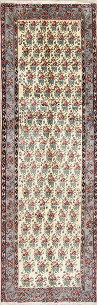 Ivory All-Over Floral Kerman Persian Runner Rug 3x9