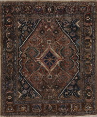 Antique Navy Blue Geometric Shiraz Ghashghaei Persian Area Rug Wool 5x6