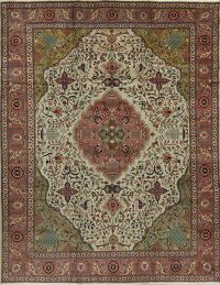 Floral Green Tabriz Persian Hand-Knotted Area Rug Wool 10x13