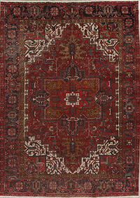 Red Antique Geometric Heriz Serapi Persian Area Rug 10x13
