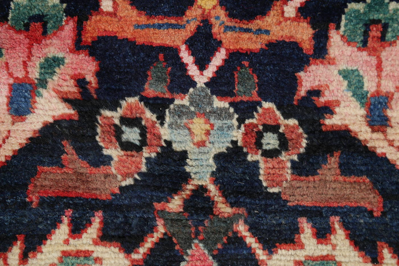 Antique Navy Blue Geometric Bakhtiari Persian Runner Rug 5x20