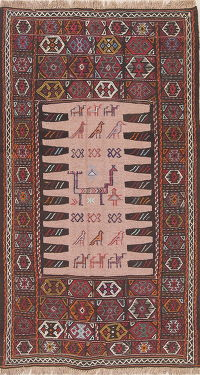 Tribal Geometric Kilim Shiraz Persian Area Rug 3x6
