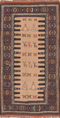 Beige Tribal Geometric Kilim Shiraz Persian Area Rug 3x6