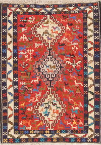 Red Tribal Geometric Kilim Shiraz Persian Wool Rug 3x5