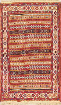 All-Over Geometric Kilim Shiraz Persian Area Rug 4x7