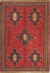 Red Tribal Geometric Kilim Shiraz Persian Area Rug 4x6