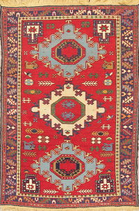 Red Geometric Kilim Shiraz Persian Area Rug 5x7