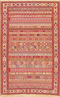 All-Over Geometric Kilim Shiraz Persian Hand-Woven Area Rug Wool 4x7