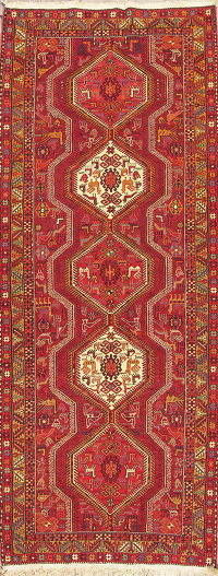 Geometric Tribal Kilim Qashqai Persian Runner Rug 4x9 Red