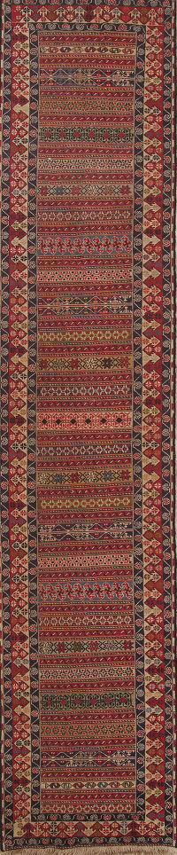 Geometric Tribal Kilim Shiraz Qashqai Persian Runner Rug 3x13