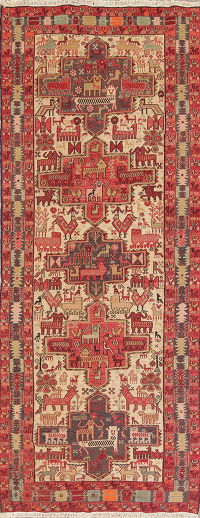 Animal Pictorial Tribal Kilim Shiraz Persian Runner Rug 4x10
