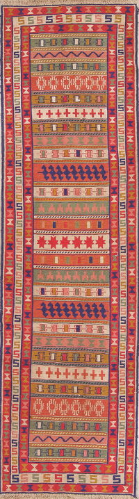 Hand-Woven Geometric Kilim Shiraz Persian Runner Wool Rug 3x10