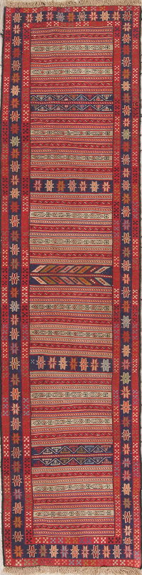 Hand-Woven Red Geometric Kilim Shiraz Persian Runner Wool Rug 2x9
