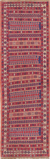 Hand-Woven Red Geometric Kilim Shiraz Persian Runner Wool Rug 3x9