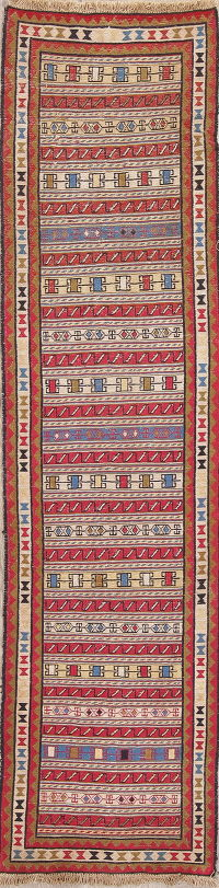 Hand-Woven Geometric Kilim Shiraz Persian Runner Rug Wool 2x9