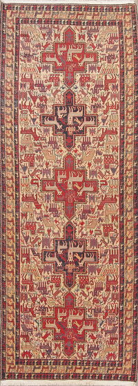 Hand-Woven Tribal Kilim Qashqai Persian Runner Rug Wool 4x12