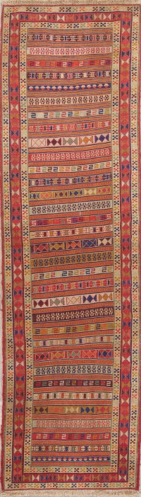 Hand-Woven Geometric Kilim Shiraz Persian Runner Rug Wool 3x9