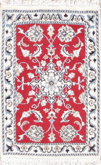 Hand-Knotted Red Floral Nain Persian Wool Rug 2x3