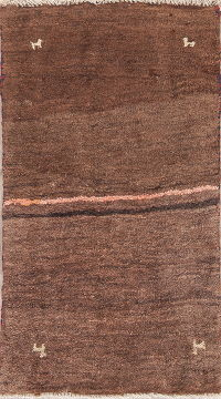 Hand-Knotted Brown Gabbeh Shiraz Persian Wool Rug 2x3