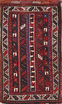 Hand Knotted Red Geometric Sanddle Bag Persian Wool Rug 3x4
