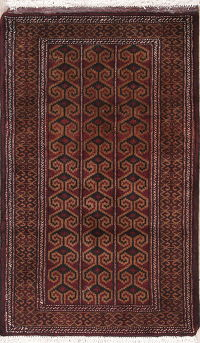 Hand-Knotted Brown Geometric Balouch Oriental Wool Rug 2x4