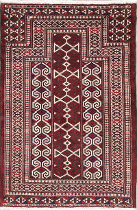 Hand-Knotted Red Geometric Balouch Oriental Wool Rug 3x4
