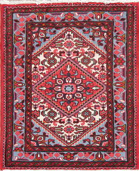 Hand-Knotted Red Geometric Hamedan Persian Square Wool Rug 3x3
