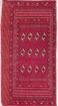 Hand-Knotted Red Geometric Bokhara Oriental Wool Rug 2x4