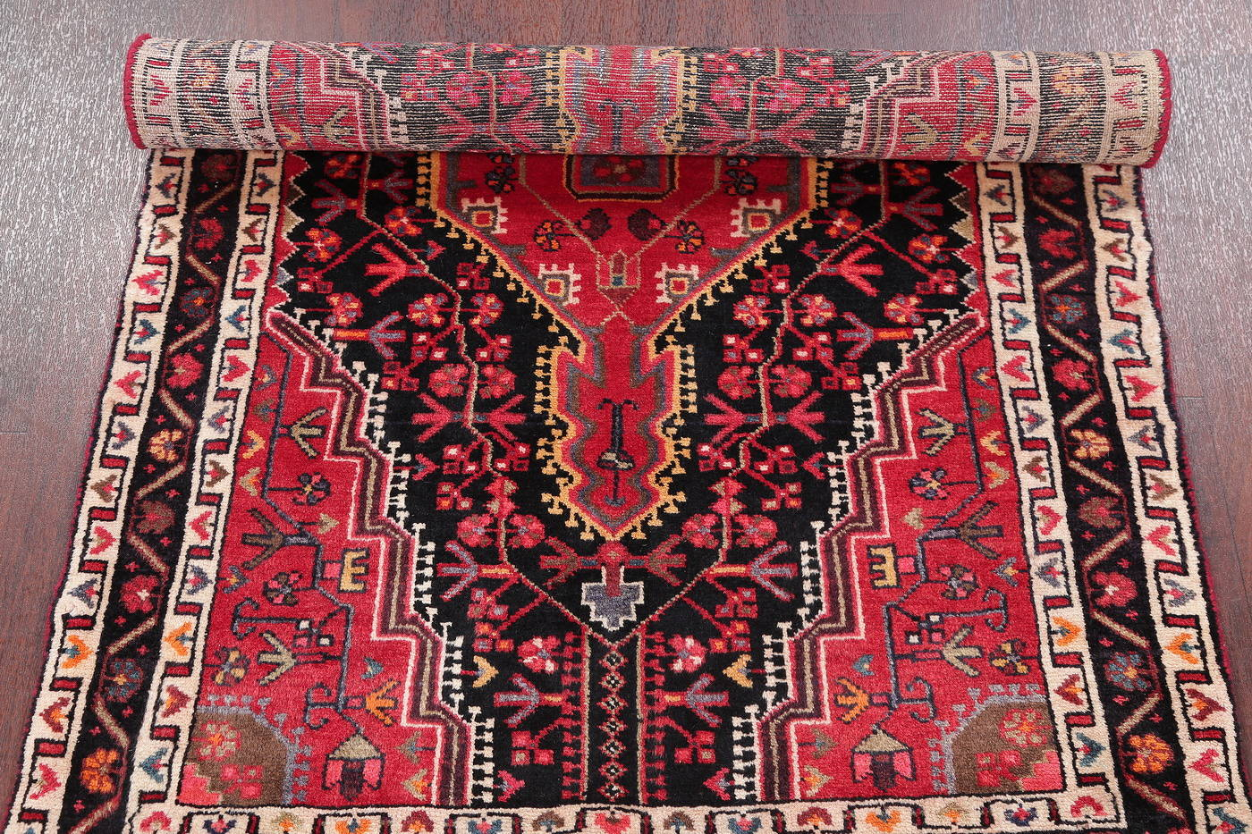Hand-Knotted Black Tribal Zanjan Persian Wool Rug 3x5