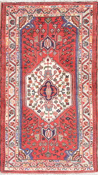 Hand-Knotted Red Hamedan Persian Wool Rug 3x5