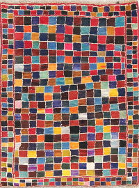 Hand-Knotted Checked Gabbeh Shiraz Persian Area Rug Wool 4x5