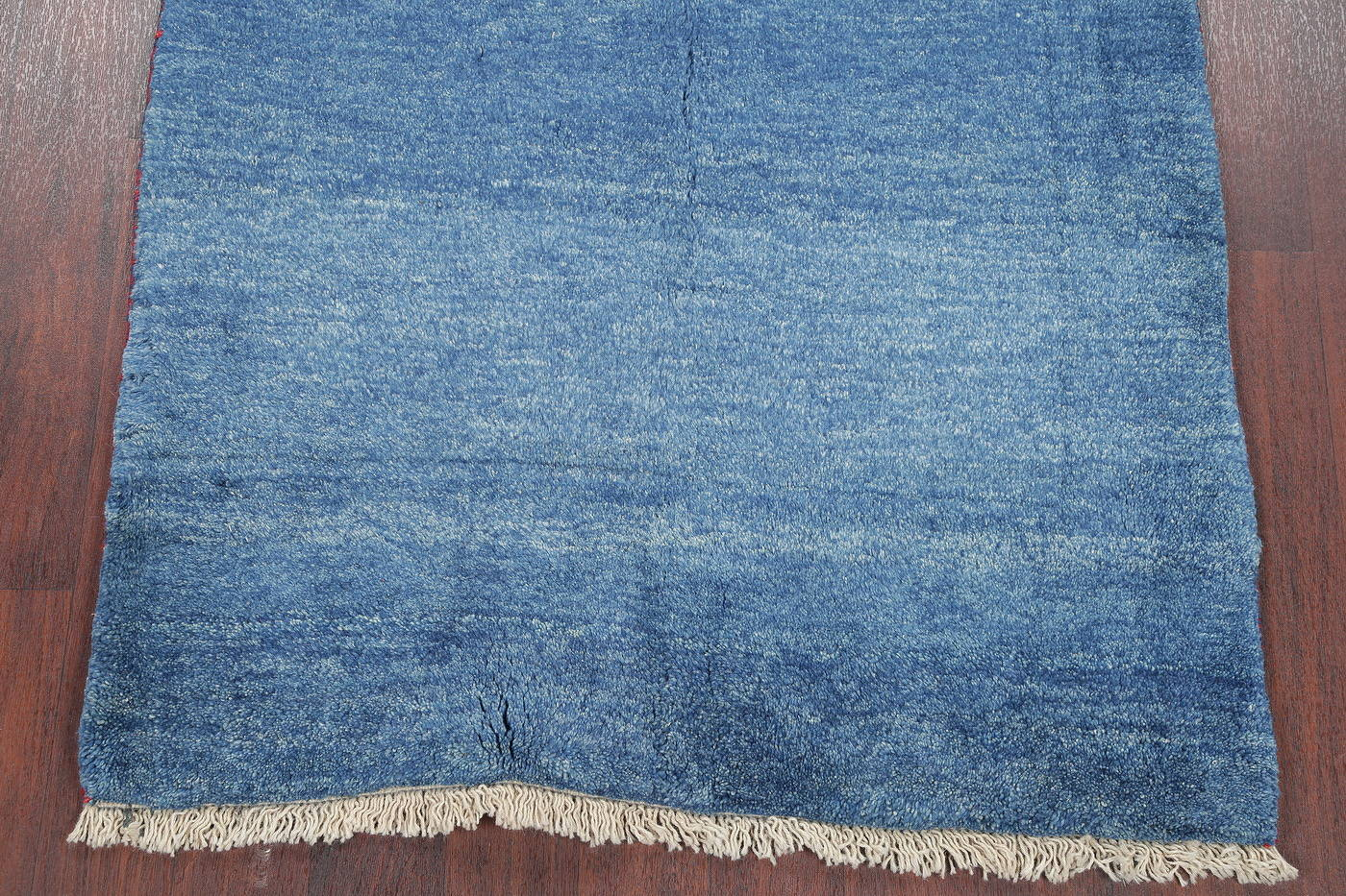 Hand-Knotted Solid Blue Gabbeh Shiraz Persian Area Rug 4x6