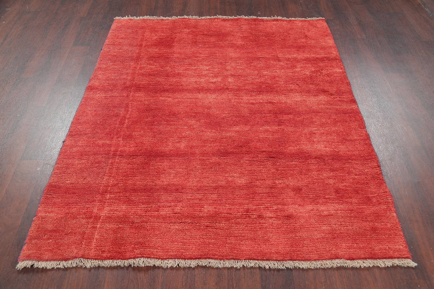Hand-Knotted Red Solid Gabbeh Shiraz Persian Wool Rug 5x6