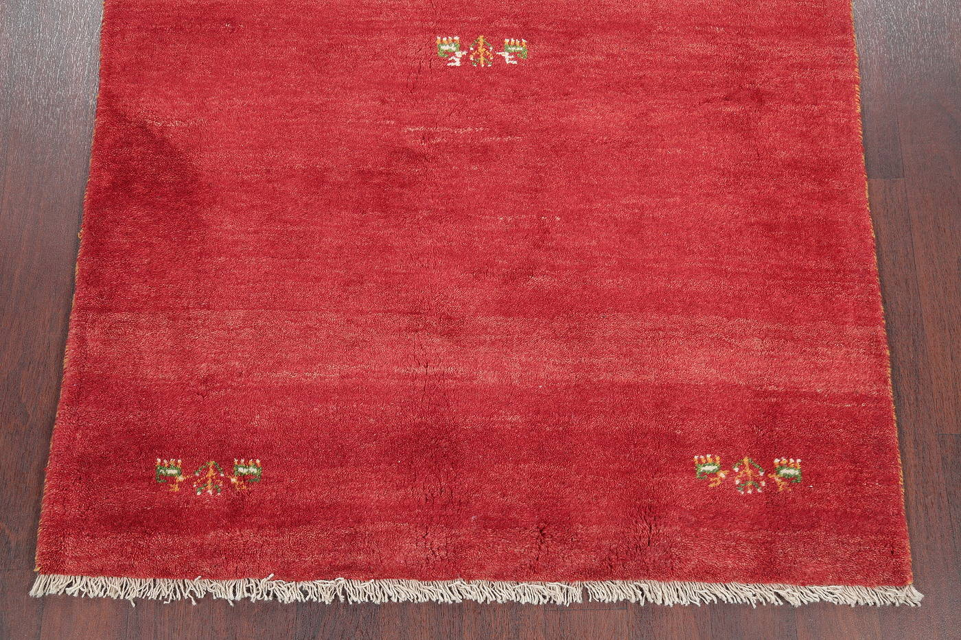 Hand-Knotted Red Tribal Gabbeh Shiraz Persian Area Wool Rug 4x6