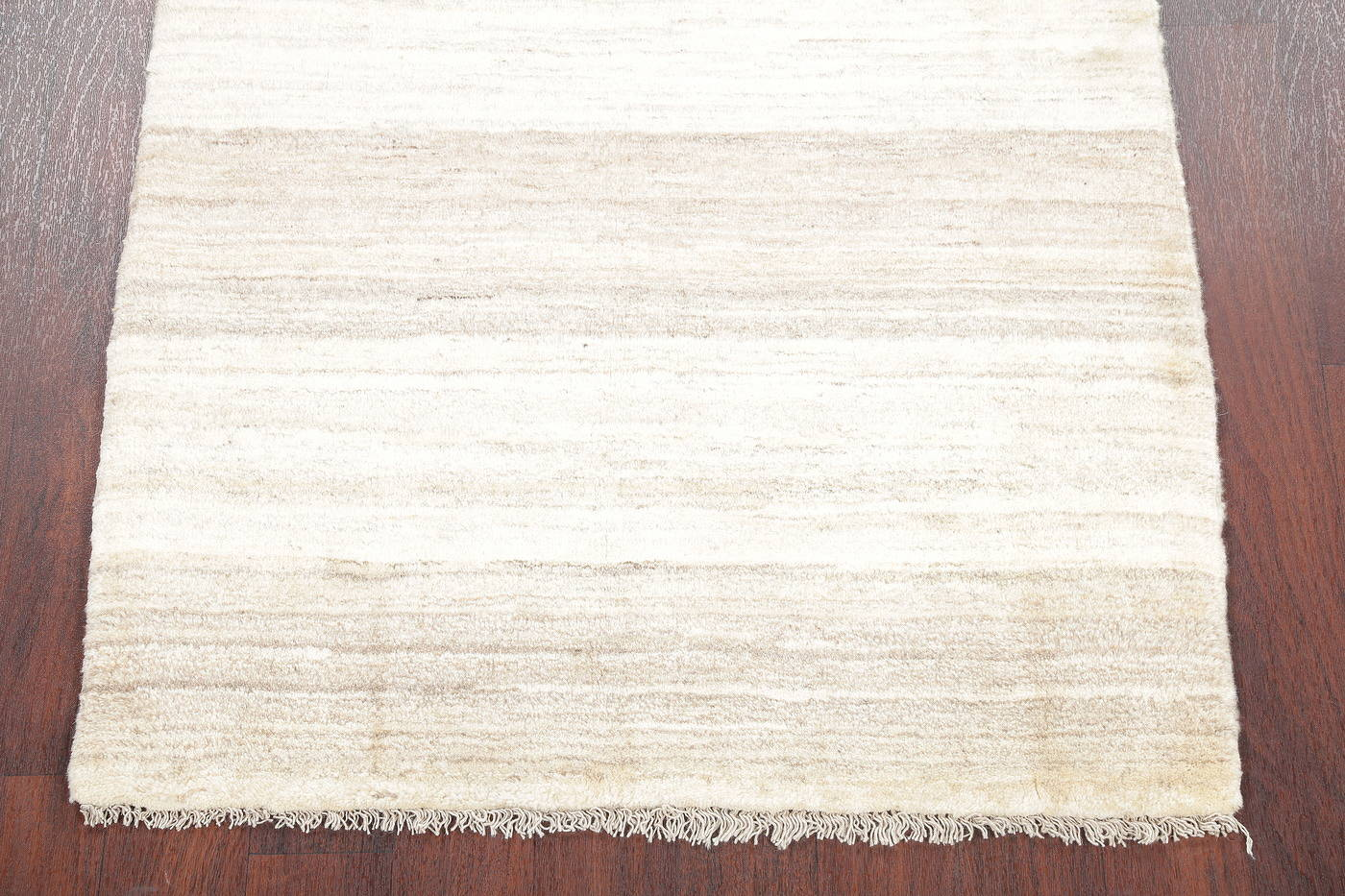 Hand-Knotted Ivory Contemporary Gabbeh Zollanvari Persian Rug Wool 3x5