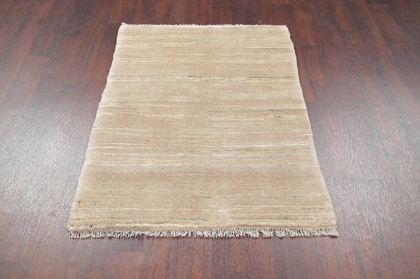 Hand-Knotted Beige Contemporary Gabbeh Zollanvari Persian Rug Wool 3x5