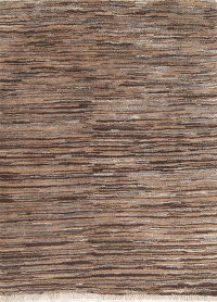 Hand-Knotted Brown Contemporary Gabbeh Shiraz Persian Area Rug Wool 4x5