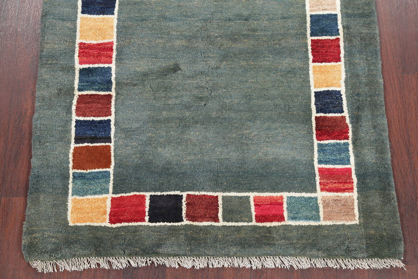 Hand-Knotted Green Contemporary Gabbeh Zollanvari Persian Area Rug Wool 4x5