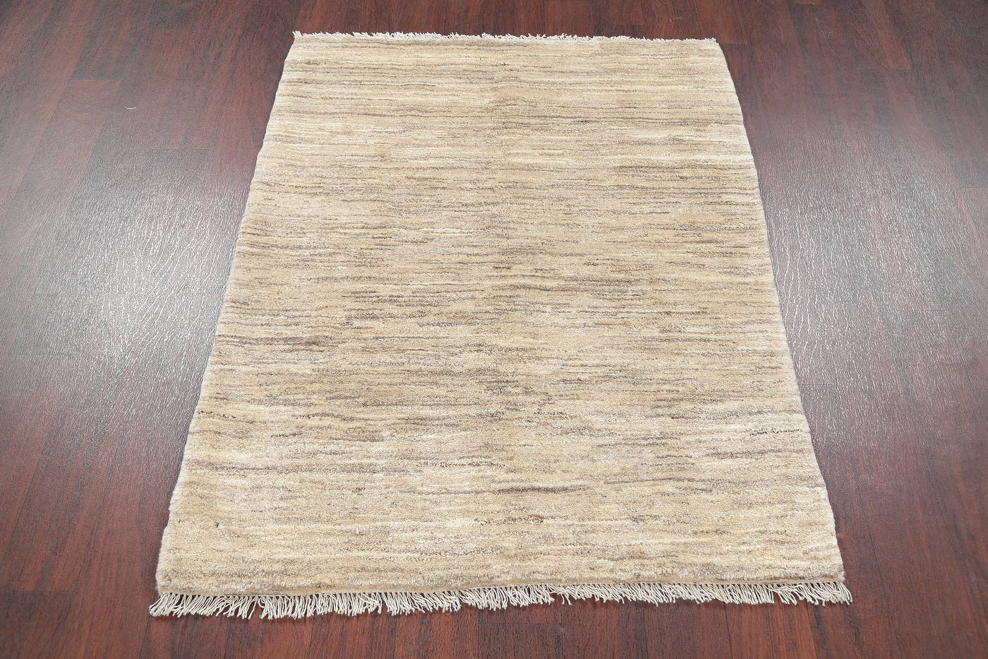 Hand-Knotted Ivory Contemporary Gabbeh Zollanvari Persian Area Rug Wool 4x5