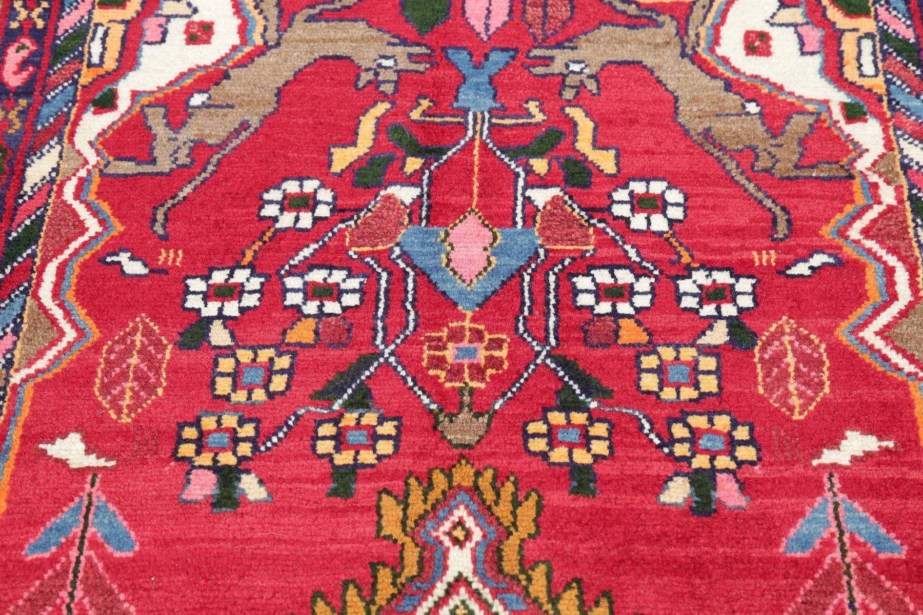 Hand-Knotted Red Animal Pictorial Zanjan Persian Area Rug Wool 4x6