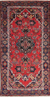 Hand-Knotted Red Floral Lilian Hamedan Persian Runner Rug Wool 3x7